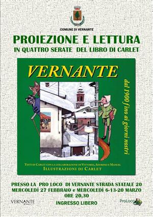 proiezione e lettura libnro Carlet su Vernante